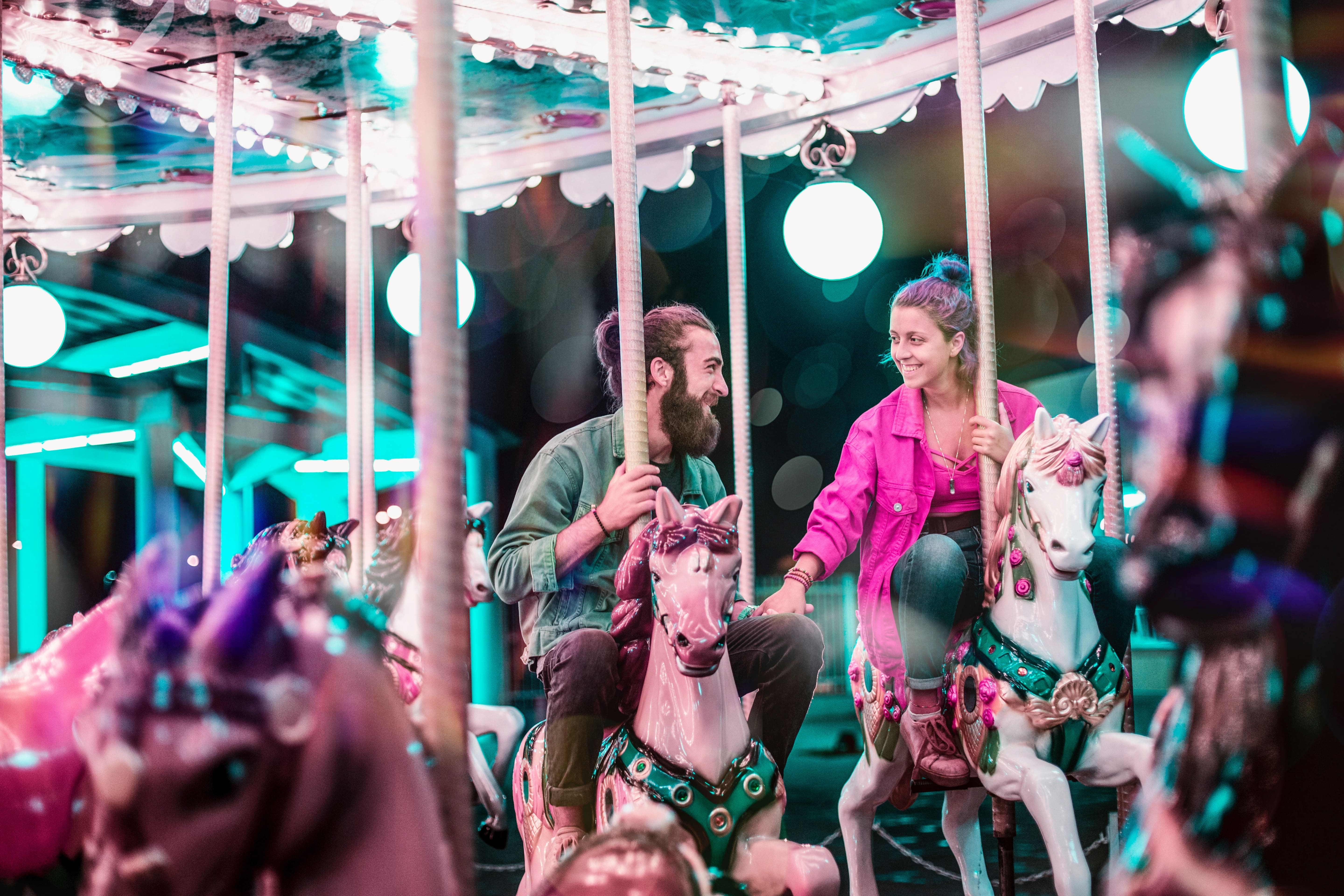 couple on a carousel at Christmas