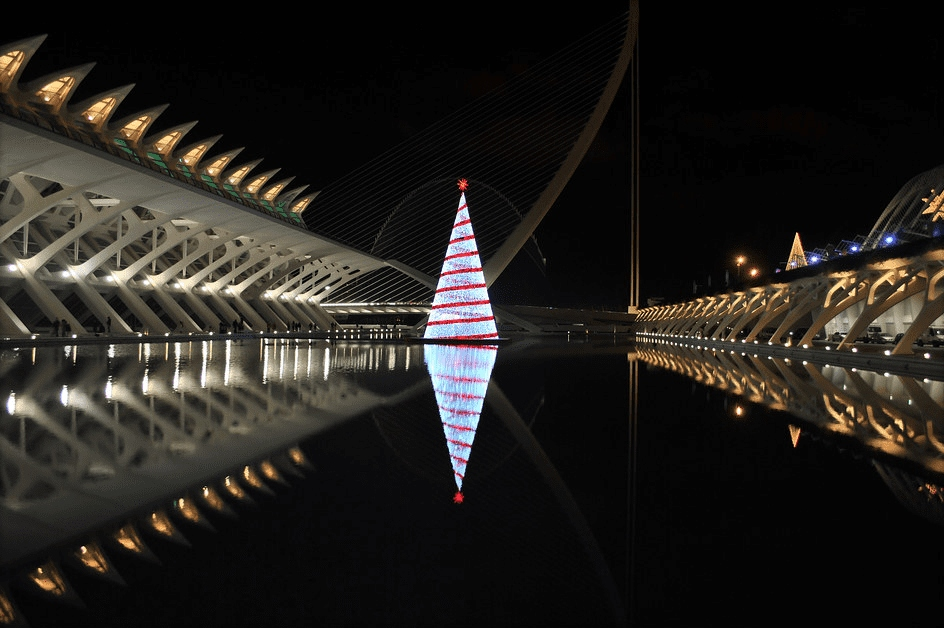 the city of arts and sciences of Valencia at Christmas